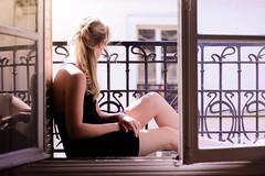 Summer finally... (Marie Burelle) Tags: city light summer vacation sun selfportrait paris me window reflections 50mm vacances soleil holidays dof autoportrait lumire terrasse sunny depthoffield f18 t balcon fentre ville calme balkony tranquille canon600d
