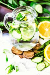 Water with lemon, mint and cucumber in glass,light background (harmonyandtaste) Tags: background beverage citrus cocktail cold cucumber detox detoxwater diet drink fresh freshness fruit glass green health healthy ice infused jug juice lemon lemonade lifestyle lime liquid mineral mint natural nature nutrition refreshment selectivefocus spring strawberry summer table tone vegetable vitamin water wooden yellow