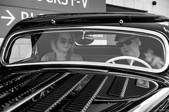 Bonnie & Clyde (Silver Machine) Tags: southampton hampshire vintage yellowvintagefair vintagecar car bonnieclyde ford 30s 1930s windscreen windshield girl man sunglasses cap blackwhite bw mono monochrome fujifilm fujifilmxt10 fujinonxf35mmf2rwr