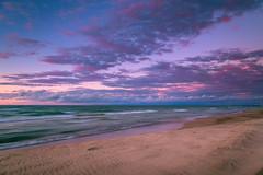 Dusk at the Beach (PhotoJacko - Jackie Novak) Tags: dusk twilight beach lakemichigan clouds sky sand water landscape millerbeach garyindiana leefilters darylbensonnd3reversegnd leefilternd6softgnd seascape motion waves