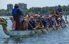 DRAGON BOATS (elizabethsummerley) Tags: winner dragon boat chinese culture yyc canoeclub glenmore lake water boating race boatrace team rowers rowing photography photojournalism nikon summer active sport action calgary