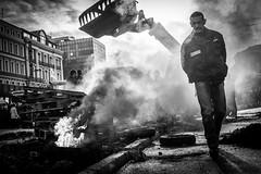 Police (Solylock) Tags: 2014 manifestation riot police noiretblanc blackwhite nb bw sivens barrage contre agriculteurs ja fnsea feu fire manifestants toulouse monochrome monochrom two people pneu tire