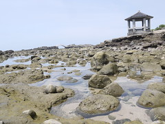 (Jia  ) Tags: sea rock coast water pavilion sky blue gf2 panasonic taiwan taipei          landscape