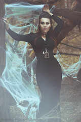 With you, darling, every night is Halloween (Moonless_Nigth_and_Melancholy) Tags: morticia addams addamsfamily photosop photomanipulation portrait photography dark mysterious woods witch gothic black woman dress pendants