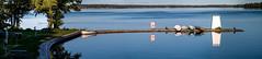 The Borenshult Pier (JohanKampe) Tags: blue bl boat boats boren borenshult borensjn bt btar fordon lake motala outdoors outside panorama pier pir sj sommar summer sverige sweden theborenlake utomhus vatten vehicle vehicles water