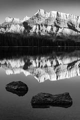 Mount Rundle at Sunrise (Erik Pronske) Tags: banffnationalpark mountrundle canadianrockies landscape sunrise water rockymountains alberta mountains black canada reflection nationalpark banff twojacklake improvementdistrictno9 ca