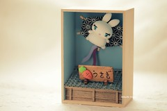 DIY dollhouse,Japanese style dollhouse,handmade lucky cat,DIY miniature,handmade home deco,handmade art dolls (charles fukuyama) Tags: bunny cuterabbit claydoll sculpted gift ideas miniature dollhouse woodenbox kikuike japanstyle japanesedollhouse animals handmade custom conejo hase  lapin