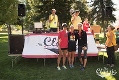 Jessica and MaryLyn receiving Master's awards Layton Classic 10K www.jamieheslopphotography.com