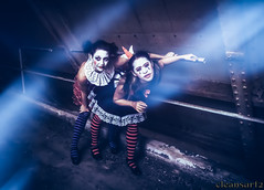 Crazy Clowns - peep - DSC6999 A7 (cleansurf2 - Portrait portfolio) Tags: crazy clown clowns weird strange circus performer people portrait photography pretty play urbex urban underworld underground freaky fullframe fun woman rustic roleplay emount theme theater texture australian ilce industrial ilce7m2 interesting outfit light gritty grime figure dark face drama decay demented disturbed darkness darkdeviations sony scary a7ii abandoned cosplay costume colour color character cinematography costuming cool cinematic comic cirkosnewcastle corset creepy cirkos vivid vibrant black naughty model mirrorless mayhem