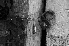 IMG_8482 ( Lettie Photography ) Tags: padlock padlocks cadenas noiretblanc noirblanc nb blackandwhite blackwhite bnwsociety bnwmagazine monochrome monochromatic woodiron wood iron chain