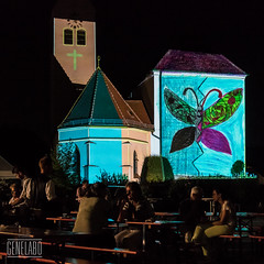 Aschheim leuchtet - butterfly (genelabo) Tags: 29 plusplus green city landkreis mnchen projektionskampagne projection visuals klimaschutz strasenfest outdoor genelabo colourfull bunt st peter und paul umwelttag kirche aschheim night madmapper leuchtet church video mapping butterfly schmetterling