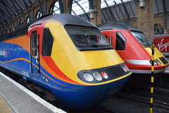 DSC_3286 Kings Cross Railway Station Virgin/Stagecoach coalition took over the East Coast Mainline with a 39 year old train from 1977 borrowed diesel locomotive Class 43 HST # 43058 from East Midlands Trains Virgin has promised new trains by 2018! (photographer695) Tags: kings cross railway station virginstagecoach coalition took over east coast mainline with 39 year old train from 1977 borrowed diesel locomotive class 43 hst 43058 midlands trains virgin has promised new by 2018
