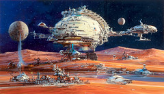 Space Settlement, AMP Corporate commission by John Conrad Berkey, 1988 (Tom Simpson) Tags: vintage art scifi sciencefiction johnconradberkey johnberkey painting illustration spacesettlement amp 1988 1980s terraforming colony space spacecolony spaceship