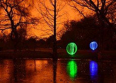 Light Orbs 4 of 4 (Whitto27) Tags: street light sky orange lake lightpainting reflection tree ice water night ball dark painting lights nightshot orb balls sodium