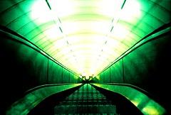 down we go (fotobes) Tags: green london angel underground lca xpro crossprocess escalator tube grain steps tunnel down symmetry symmetrical grainy goingdown kodakelitechrome100