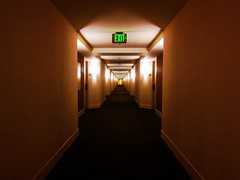 My Journey Continues... (Blue Rave) Tags: vanishingpoint hotel angles angle empty exit lights sanfrancisco california sf destinationunknown pathway path sign