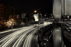 the red house (amira_a) Tags: night lighttrails highway city bw almostbw nikon d5100 50mm reflection nikon50mm18g nikond5100 prime azrieli israel