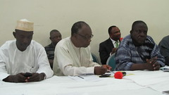 (L-R) Alhaji Hayatudeen Sani of Interproducts Link, Prof Ode Ojuwu of Country Policy Centre and Alhaji I.A Buba of FDD