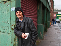 On the look out ... at McIver's Market (Charles Hamilton Photography) Tags: street city portrait people urban 35mm december market glasgow streetphotography streetportrait shutters streetcorner gibsonstreet characterstudy thebarras peopleinthecity nikond90 glasgowstreetphotography glasgowcharacter moncurstreet mciversmarket