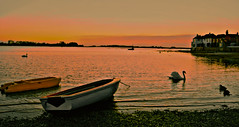 Another day in Paradise (Barry.Turner.Photography) Tags: sunset sea water photoshop boats bosham high dynamic sundown harbour swans rowing range hdr chichester topaz tonemapped artizen displaytonemapped