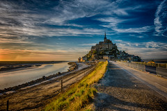 Mont Saint-Michel (dawvon) Tags: world ocean travel sunset sea france castle nature architecture landscape ed twilight nikon europe shadows zoom snapshot wideangle unescoworldheritagesite unesco worldheritagesite mount snaps unitednations normandie stmichel nikkor normandy  f4 hdr highdynamicrange vr afs causeway montstmichel montsaintmichel lenses historicalbuilding zoomlens  f4g unitednationseducationalscientificandculturalorganization 1635mm bassenormandie  fmount vibrationreduction vr2 vrii  wideanglezoom lowernormandy abbayedumontsaintmichel abbeyofmontsaintmichel nanocrystalcoat afsnikkor1635mmf4gedvr 1635mmf4gvr