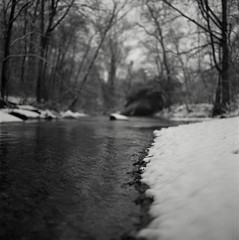 snow on darby creek IV (Owen Luther) Tags: trees winter blackandwhite white snow black cold 6x6 film analog creek mediumformat square fuji pennsylvania monochromatic hasselblad pa darby springfield flakes acros100 hasselblad500cm butnotintentionally