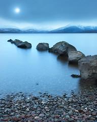 """Home2"" (""Flashman"") Tags: blue light moon beach beautiful clouds scotland rocks arty scottish lochlomond coolblue balmaha scottishlandscape leadinline westscotland millarochybay scotsmist"