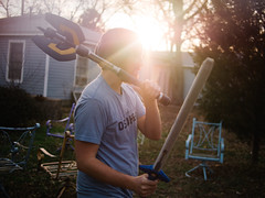 Brian (BurlapZack) Tags: portrait backyard profile prism battle lightleak lensflare flare sword axe nerf magichour larp lawnchairs bendinglight sundayfunday dentontx panasonicleicadgsummilux25mmf14 vscofilm olympusomdem5 prisming