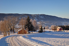 winter road, Hjukseb (Grey travel) Tags: blue trees houses homes sky norway buildings countryside bright farm oldschool fresh hills clean 365 telemark sunnywinterday winterroad 3651 coldtemperature