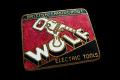 Wolf Electric Tools  c1950s (Argy58) Tags: illustration advertising typography graphicdesign diy blackdecker vintageillustration pins|buttons|badges vintagebadge swwolfcompany wolftoolsenamelbadge wolfelectrictools bridgesstanley
