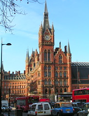 London St Pancras Station 4th February 2013 (loose_grip_99) Tags: street uk railroad england london station architecture traffic gothic victorian rail railway stpancras eustonroad midland georgegilbertscott midlandgrandhotel