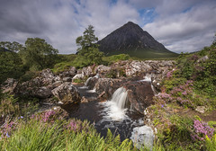 DSC_5825 (kenimcg107341) Tags: scotland highlands glen etive coe buachaille mhor river coupall waterfall heather summer mountain clouds foliage fauna nikon d750