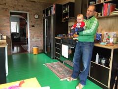 Andrew & Kane (kayatkinson-simson) Tags: kane andrew fatherson 7monthsold greenfloor kitchen exposedbrick formplyshelving partypies whitewings