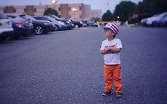 Ready for fireworks (Scott SM) Tags: upper darby fireworks fourth july fourthofjuly two 25 year old toddler parking lot flag hat
