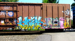 smells - droid 907 (timetomakethepasta) Tags: smells droid 907 nyc freight train graffiti boxcar art larva pussy pains general mills