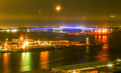 Tokyo gate bridge and 3 airplanes_Tokyo Telecom center view room (sapphire_rouge) Tags:  aoumi rainbowbridge bay japanese      tokyobay  nightview  wangan shore  japan rinkaihukutoshin  kotoku seaside