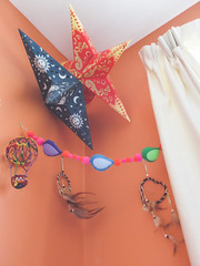 dreamy corner (jojoannabanana) Tags: 3662016 birds canonpowershot decorations decor dreamcatcher dreamy feathers felt handmade garland lanterns stars s100