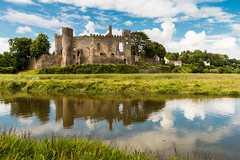 Laugharne Castle, Wales (Keith in Exeter) Tags: carmarthenshire castle laugharne wales water marsh architecture ruins landscape outdoor trees reflection
