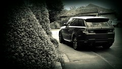 232 of 366 (I line photography) Tags: 365project rangerover sport rangeroversport black blackandwhite reflection trees roads village cawthorn pavement