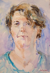 """""""portrait of a fellow artist"""" - watercolour (Nora MacPhail) Tags: portrait portraits face female model artist art watercolour watercolor noramacphail donvalleyartclub foresthillartclub life figure drawing painting short poses"""