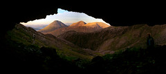 Earth and Skye (clement clement) Tags: skye scotland uk trekking trek walk walking island sunset mountain sky clouds sea cave plants landscape sony a7s alpha 7s panoramique panoramic panorama rock geology gologie basteir tooth cuillin hills bhasteir sgurr bealach nan lice bruach na frithe gillean ridge summit munro water river dyke dike magmatic cavern sun light scenery highland midges canyon erosion shadow colour color