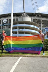 Etihad rainbow flag raising  (41) (villagemanchesterfc) Tags: rainbowflag manchestercity manchestercityfc manchestercityfootballclub football soccer gayfootball gaysoccer gay homosexual bisexual canalstreetblues etihadstadium