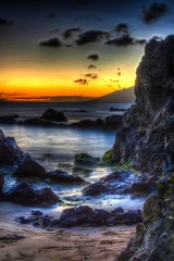 Rocky Water Shore (mjla87) Tags: thoughtful wordless love nature bloodorange sun hawaii colorful breathtaking beautiful beach ocean waves rocks