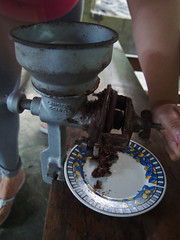 Grinding the cacao beans to make cacao paste, Finca de Cacao (little_duckie) Tags: minca bonda colombia southamerica finca cacao waterfall cascada jungle