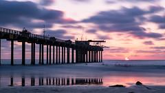 Scripps Pier Sunset (Bob Kirschke) Tags: sandiegosunset scrippspier sunset sun pier pacificocean surfers