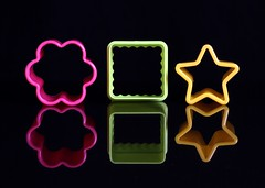 3 Shapes (Karen_Chappell) Tags: three 3 black pink green yellow star flower square stilllife reflection toy colourful multicoloured colours colour