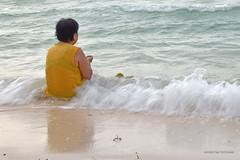 WOMAN IN YELLOW (katarzynatrzcinska) Tags: sea woman people water summer travel travelling philippines bohol yellow sand flipflops day sit sitting seated