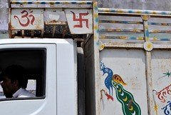 Indian lorry swastikas, UP, India (CultureWise) Tags: india swastika symbols