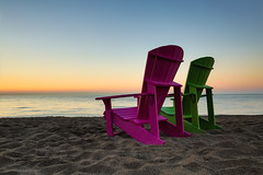 vivid summer memory (Marc McDermott) Tags: summer beach thebeach chair adirondack muskoka lake ontario toronto canada morning sunrise calm beautiful vivid sand
