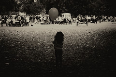 On the outside looking in (cuppyuppycake) Tags: black white little girl balloon festival wanstead
